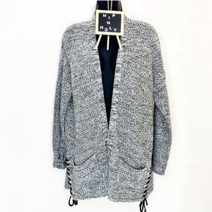 LUMIERE Lace Up Open Front Speckled Cardigan